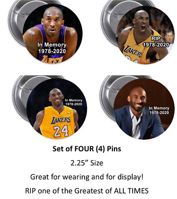 "KOBE BRYANT Collectible -  Set of FOUR (4) 2.25"" pinback button badge"