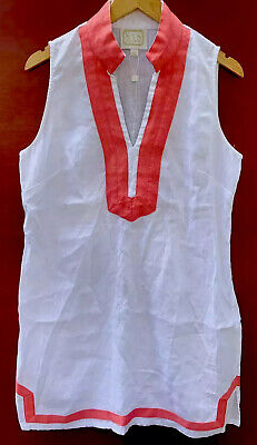 Sail To Sable Linen Dress Large White Pink Sleeveless Shift Preppy Nautical