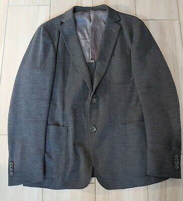 Z Zegna Drop 8 Deco Charcoal Single Breast 2 Button Jersey Jacket 42 R
