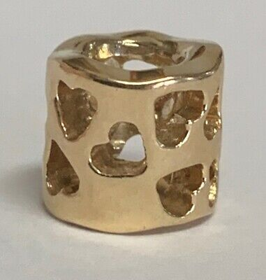 Authentic Pandora Tunnel of Love Heart Charm 14K Yellow Gold 585 ALE