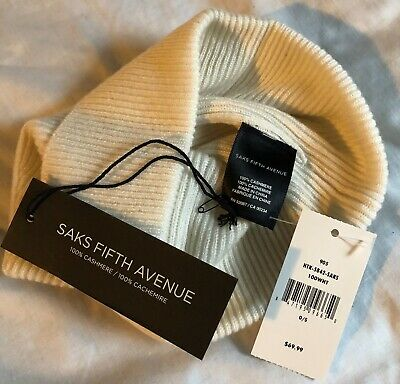 100% Cashmere Saks Fifth Avenue Ribbed Cuffed Beanie Off White OS MSRP $69 NWT