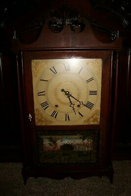 antique wooden works clock Ephraim Downes for George Mitchell