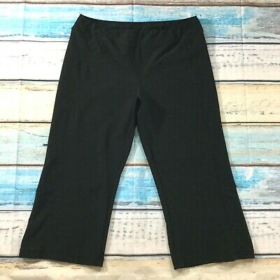 Lands End Womens Pants sz Large XL Black Yoga Pull On Stretch Capris Athleisure