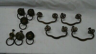 Antique lot of 10 Victorian Solid Brass Drawer Pull rings handles Ornate early