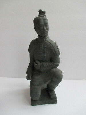 "Vtg 10"" Chinese Samurai Warrior Soldier Terracotta Art Statue Sculpture 2+lb"