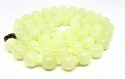 "Vtg Chinese Celadon Jade Bead Necklace 8mm 100g 30"" Pale Green Silver Clasp"
