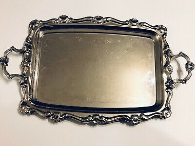 Antique Silver Plated Serving Tray Butlers Tray