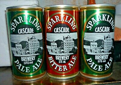 Collectable beer cans:  Set of 3 Cascade Pale/Bitter Ale 370/375ml steel cans