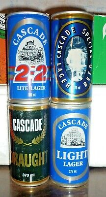Collectable beer cans:  Set of 4 assorted Cascade 370/375ml steel cans