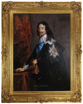 Old Master Art Oil Painting Antique Portrait Man King Charles Unframed 24x30
