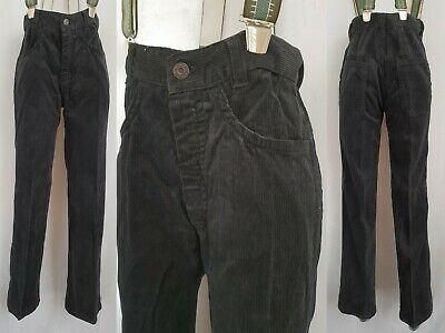 Vtg 70s/80s Deadstock Black Slim Fit Cord Jeans/Trousers W25 L31 LD02
