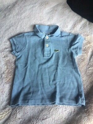 Boys Lacoste Polo T-shirt. Age 2 Years. Pale blue. 100% genuine.