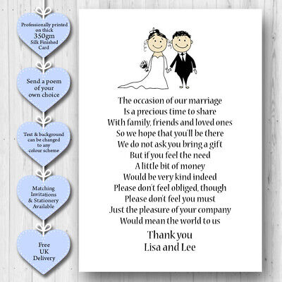 25 x Wedding Poem Cards For Your Invitations Ask Politely For Money Cash Gift