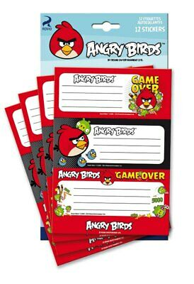 Angry birds - 12 étiquettes autocollantes -  Game Over