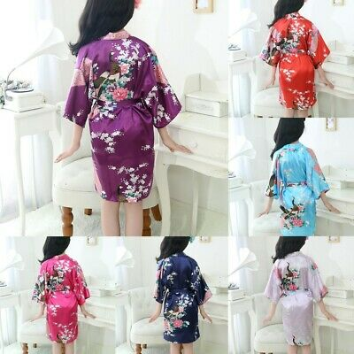 Toddler Baby Kid Girls Floral Silk Satin Kimono Robes Bathrobe Sleepwear Clothes