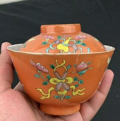 Antique 19th Century Chinese Porcelain Lidded Tea Bowl With Symbols & Mark