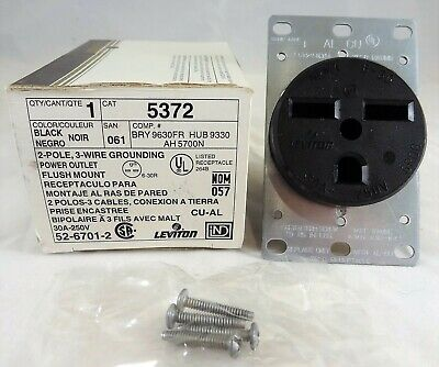 Leviton 5372 30 Amp Flush Mount Receptacle, 250V, 6-30R, Grounding, New In Box