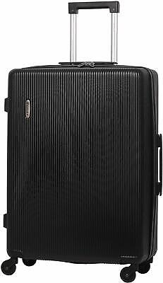"""5 Cities 26"""" Lightweight ABS Hard Shell Hold Check in Luggage Suitcase Black"""