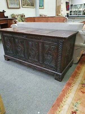 Magnificent Substantial Late 17th Early 18th Century Carved Oak Coffer Chest