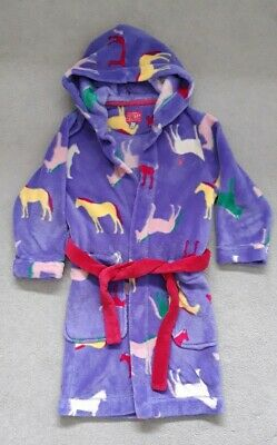 Girls Joules Fleece Hooded Dressing Gown/Robe Age 7-8 Years  Pink Green Horses