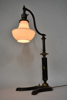 Early 20th Century Adjustable Jewelry Store Lamp Czech Glass Shade GE Socket
