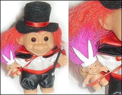 TROLL MAGICIAN w/ Top Hat Rabbit RED HAIR Magic Wand Cape NEW old stock in bag