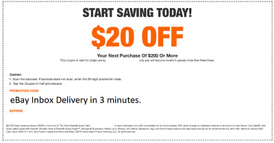 One 1X Home Depot $20 off $200 In-Store Only-1Coupon -Super-FAST-3MINS_