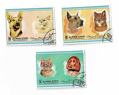 Ajman State postage stamps 1971 Cats and Dogs x 3