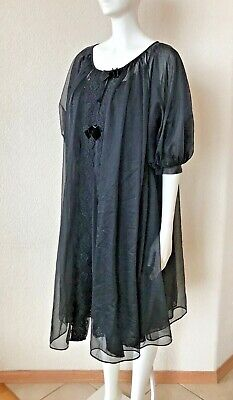 "Vintage Shadowline Black Nylon Double Layer Babydoll Nightie S 34"" Bust Sexy EUC"