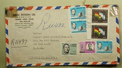 DR WHO 1972 BOLIVIA PAIR ORURO REGISTERED AIRMAIL TO USA  f03362