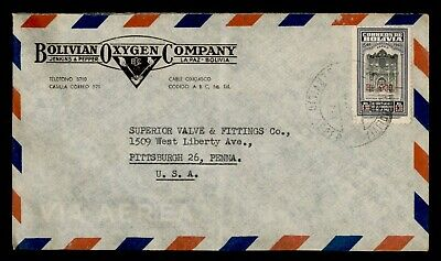 DR WHO BOLIVIA OVPT LA PAZ AIRMAIL TO USA ADVERTISING OXYGEN CO  f03633