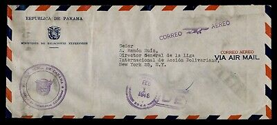 DR WHO 1946 PANAMA OFFICIAL FREE FRANK AIRMAIL TO USA  f03655
