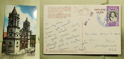 DR WHO 1957 PANAMA CATHEDRAL POSTCARD TO USA  f03746