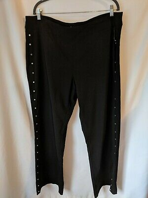 JM Collection Plus Size 20W Women's NEW Black Solid Flare Pants Studded