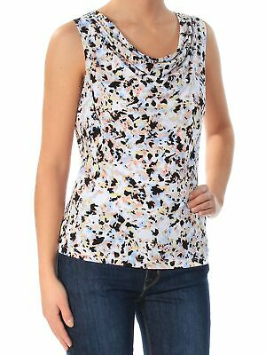 CALVIN KLEIN Womens New 1568 Blue Floral Scoop Neck Sleeveless Casual Top XS B+B
