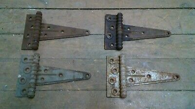 "Pair set 4 Stanley SW antique steel T Strap Barn Door Gate Hinges 7 3/4"" total L"