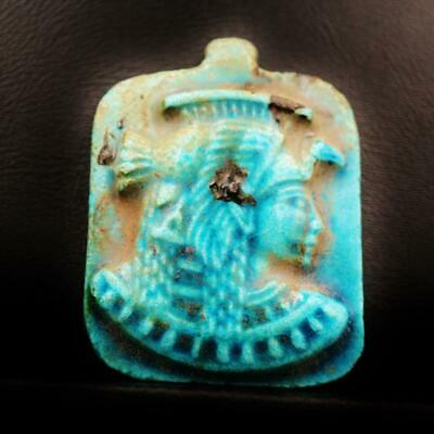 Rare Ancient Egyptian Large Faience Amulet Queen Cleopatra Figurine Pendant