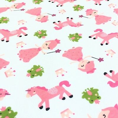 Pink Unicorn, princess and frog, 100% cotton interlock knit jersey baby fabric.