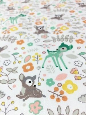Adorable woodland deer print. 100% cotton poplin fabric.