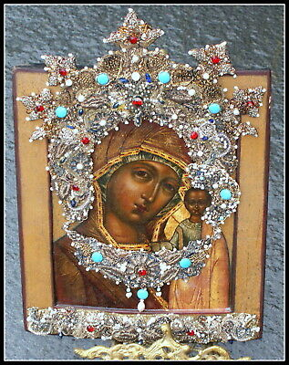 Antique Russian Icon Mother of God of Kazan Embroidered Decor, 19 c