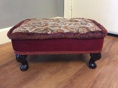 Vintage Footstool Queenanne Wood Effect Legs