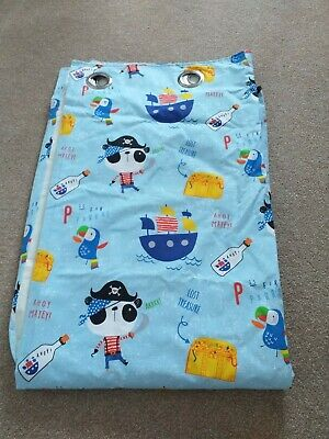 Dunelm Pirate Panda children's blackout curtains with tie backs