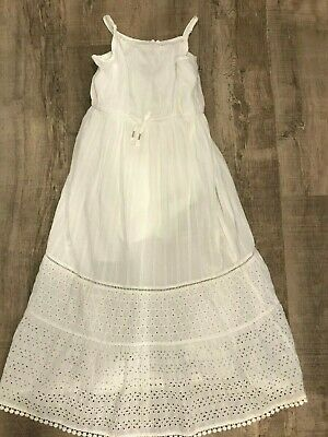 girls white long dress spagetti strap size large 10/12 cat and jack