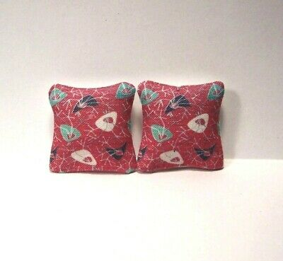 Miniature Decorative Pillows Dollhouse Diggs 1:12 Atomic Fish Red Green Black