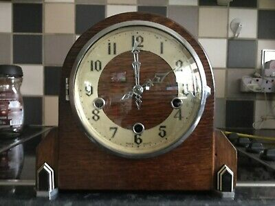 Art Deco British Made Enfield Mantle Clock Westminster Chimes Complete With Key