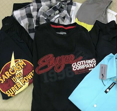 Mens Lot of 6 Tops Size L Mixed Tops Button Long Sleeves Short Sleeve Shirts
