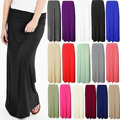 Women Pleated Fold Over Waist Jersey Maxi Ladies Long Length Viscose Gypsy Skirt