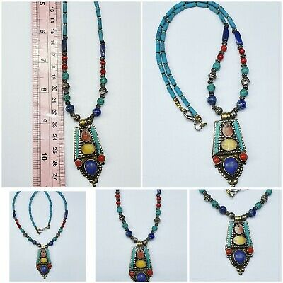 Rare Unique Lovely Turquois Lapis Amber bead Necklace #A132