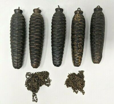 """Vintage Lot Germany Black Forest Cuckoo Clock Pine Cone Weights and Chains 5"""""""