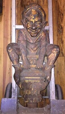 Antique Cast Iron Goblin Sculpture Gothic Evil Grin Squatting Architectural Rare